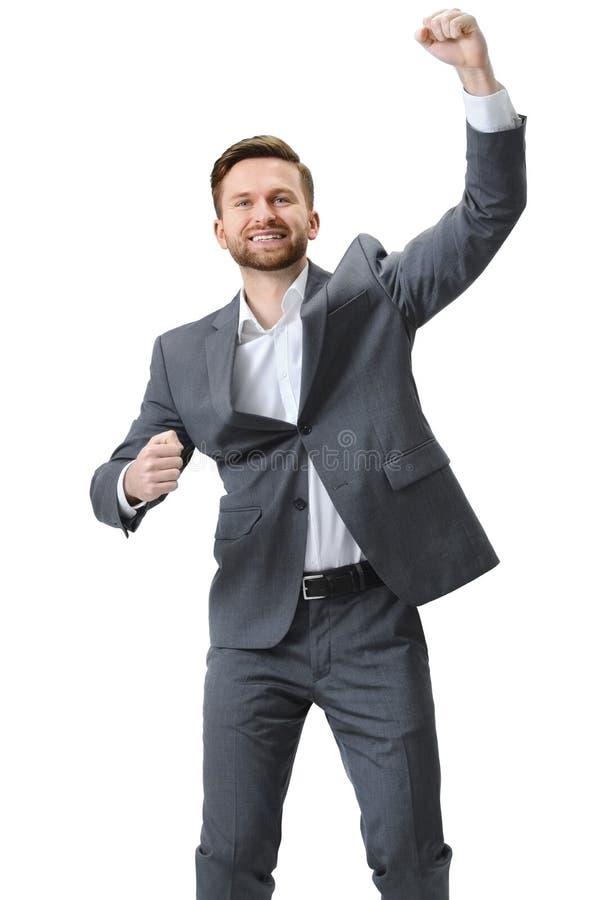 Succes entusiasmado da celebração do homem de negócios fotos de stock