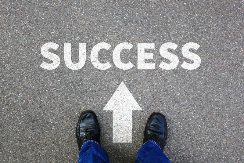 Succes succesvol bij van de de bedrijfs carrièrezakenman van de het werkbaan conce royalty-vrije stock afbeelding
