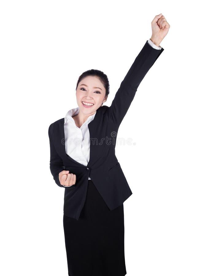 Succes/winnaar bedrijfsdievrouw op wit wordt geïsoleerd stock afbeeldingen
