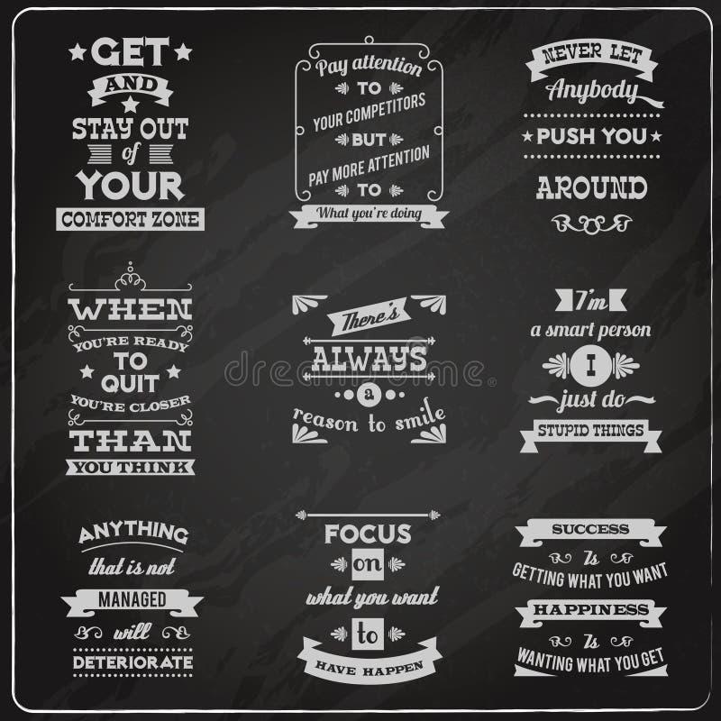 Succescitaten geplaatst bord vector illustratie