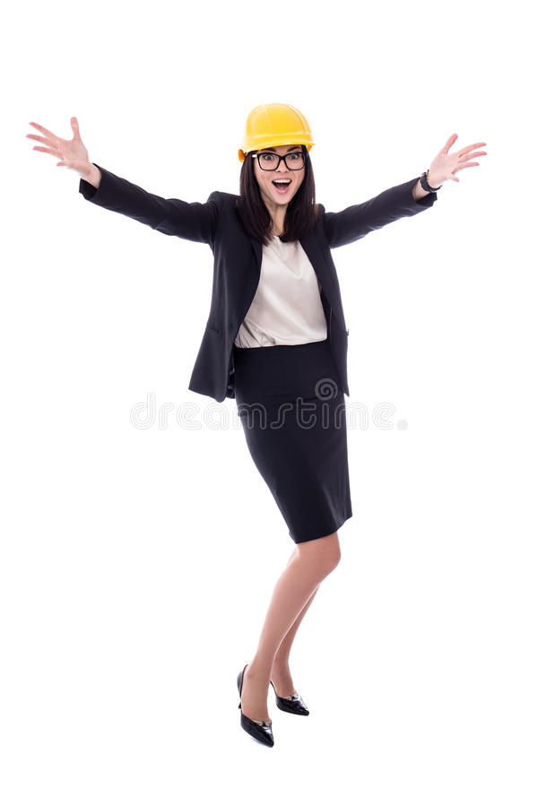 Succesconcept - gelukkige bedrijfsvrouwenarchitect in gele helme royalty-vrije stock foto