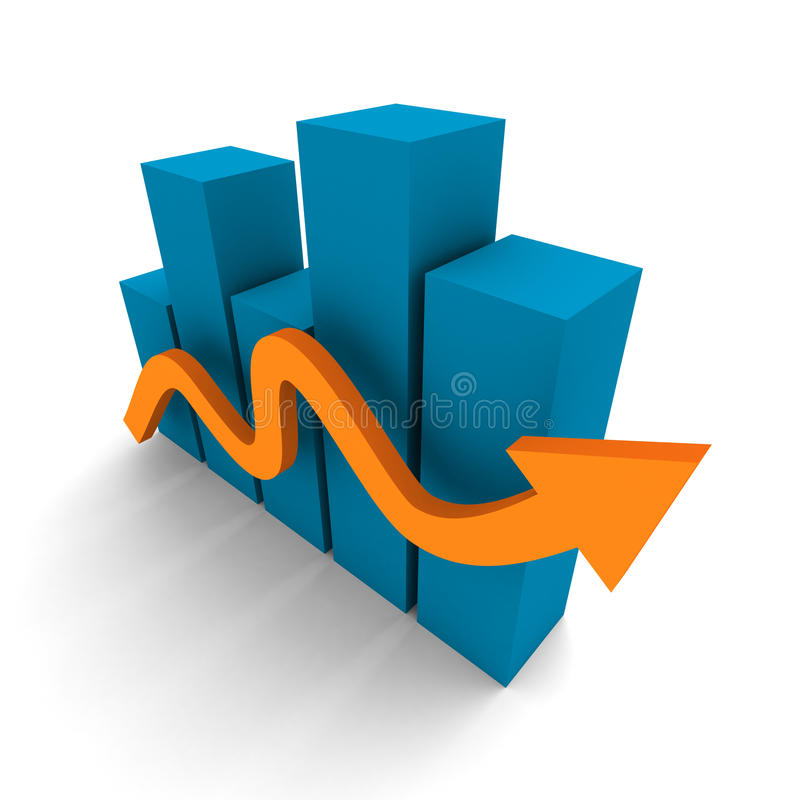 Succesful business bar graph with rising up red arrow royalty free stock images