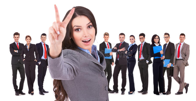 Download Succesful Business Woman And Her Victorious Team Stock Image - Image of businessteamwork, fullbody: 28550789