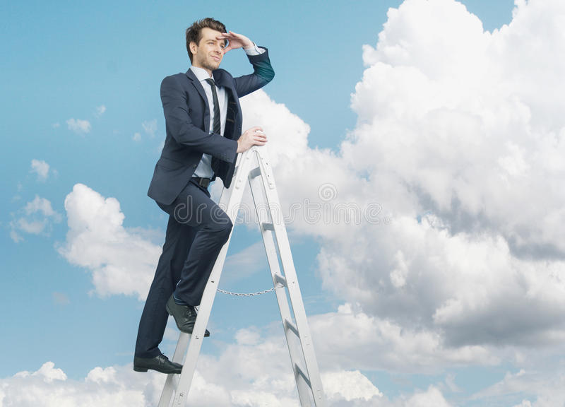 Succesful businessman on the top of the business royalty free stock image