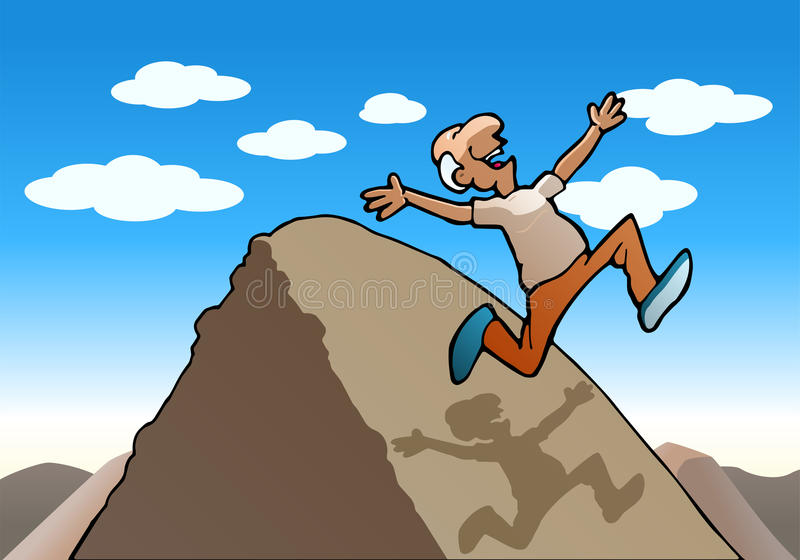 Succesful running old man over the hill. Illustration of a succesful running old man over the hill on nature background vector illustration