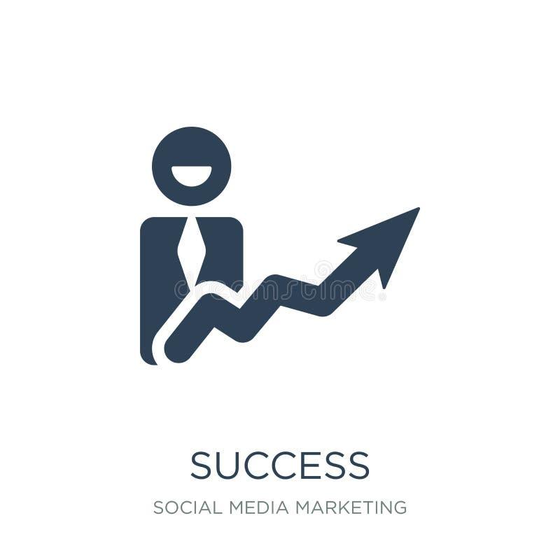 succespictogram in in ontwerpstijl succespictogram op witte achtergrond wordt geïsoleerd die eenvoudige en moderne vlakke symbool stock illustratie
