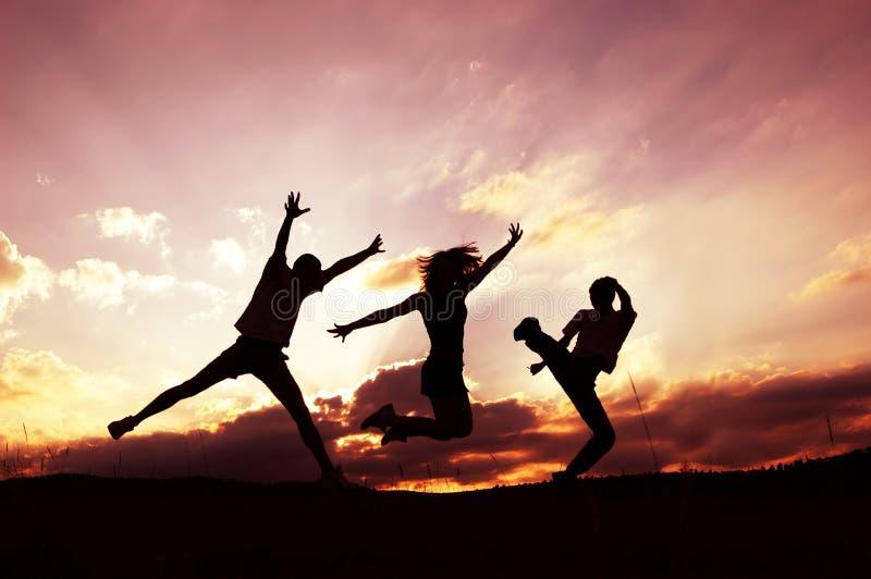 Success. Three silhouettes Celebrate success