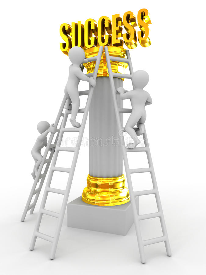 Success. On white background. 3d royalty free illustration