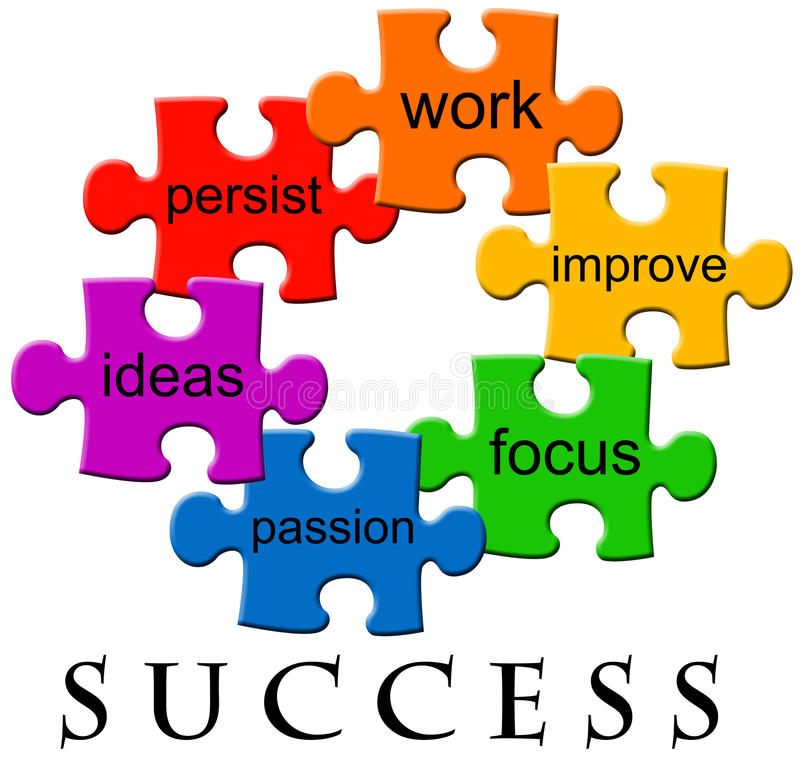 Success. Several factors contributing to success in business and life royalty free illustration