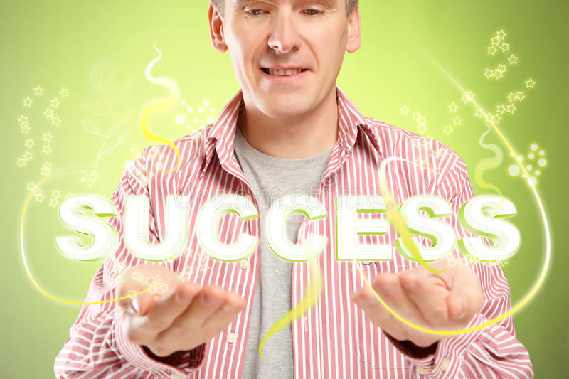 Success. Man with word success over his hands. Concept of successful people and positive thinking royalty free stock photography