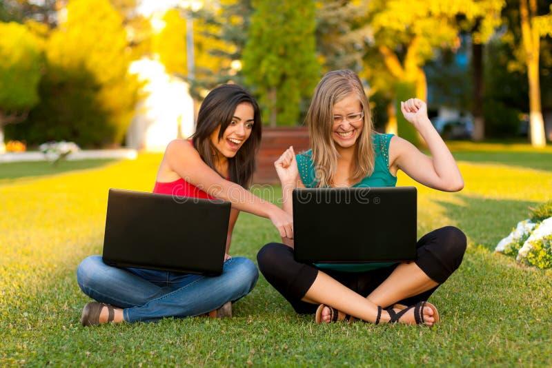 Download Success ! stock photo. Image of girls, girlfriends, laptop - 26153350