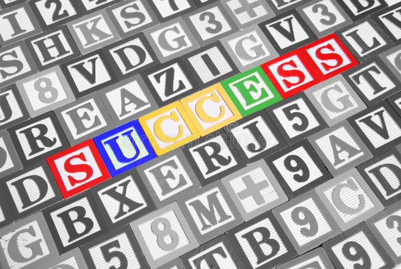 Success. Spelled out in colorful toy blocks royalty free stock image