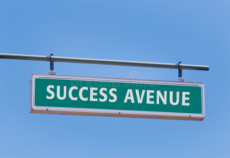 Success. Street sign with success avenue against blue sky royalty free stock photos