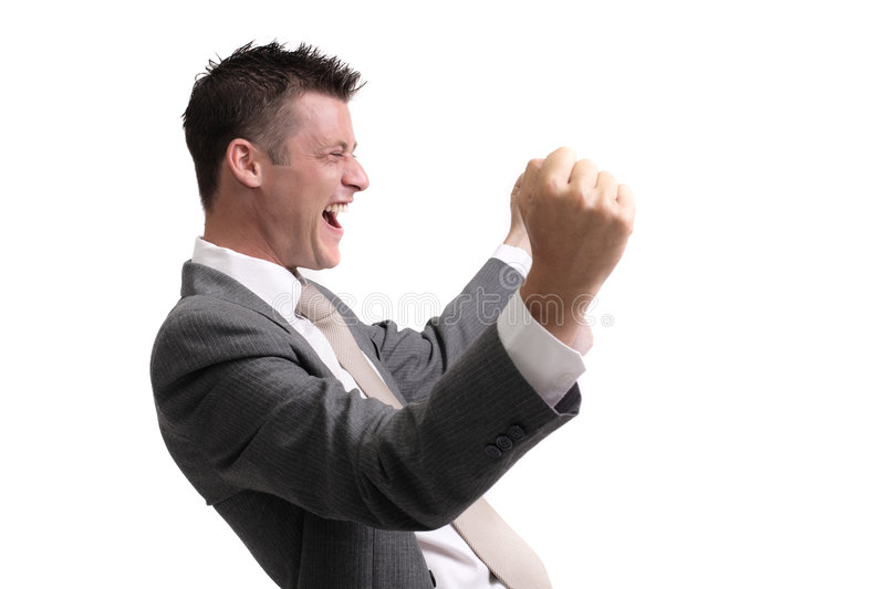 Success!. Young, handsome businessman showing excitement of a successful deal,interview,presentation.. isolated over white background royalty free stock images