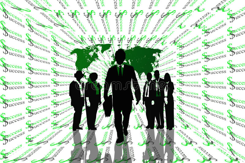 Download Success Abstract Background With World Map And Teamwork On Silhouettes. Stock Illustration - Illustration: 34001729