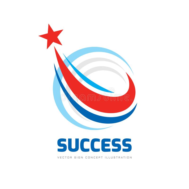 Success - abstract vector logo. Design elements with star sign. Development symbol. Progress icon. Growth and start-up concept ill royalty free illustration