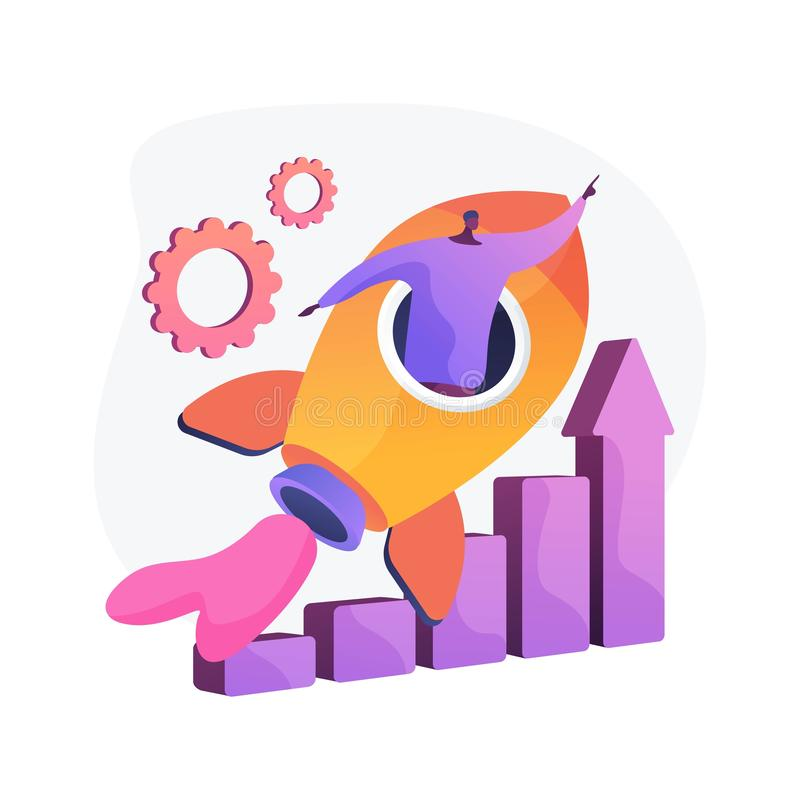 Success achievement vector concept metaphor. Success achievement. Career aspiration, job promotion, personal growth. Motivated worker, businessman flying in stock illustration