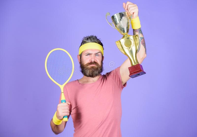 Success and achievement. Win tennis game. Tennis match winner. Achieved top. Tennis player win championship. Athlete royalty free stock photos