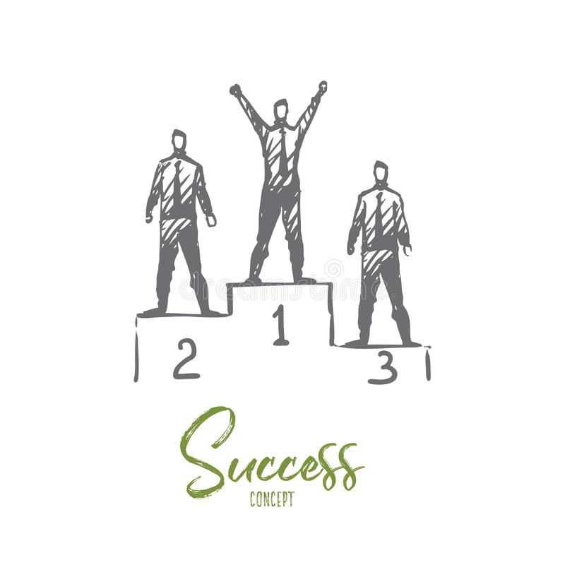 Success, achievement, winner, leader, award concept. Hand drawn isolated vector. vector illustration