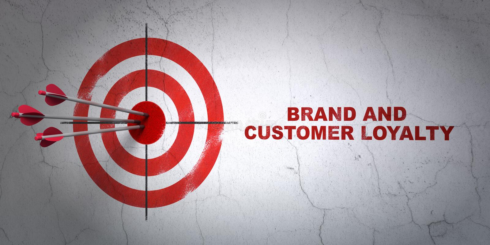 Advertising concept: target and Brand and Customer loyalty on wall background stock illustration