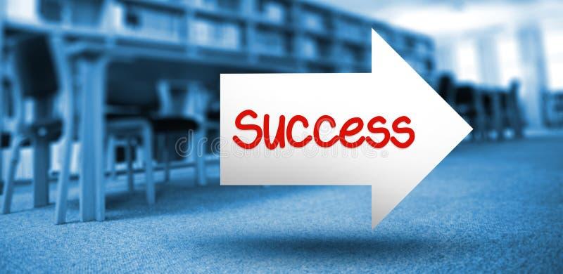 Success against volumes of books on bookshelf in library vector illustration