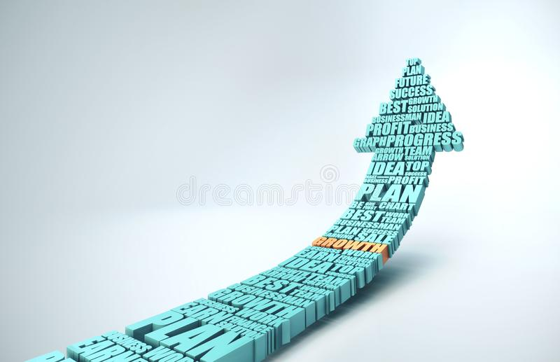 Business success concept. Success Arrow in form word cloud, business success concept. 3D Rendering royalty free illustration