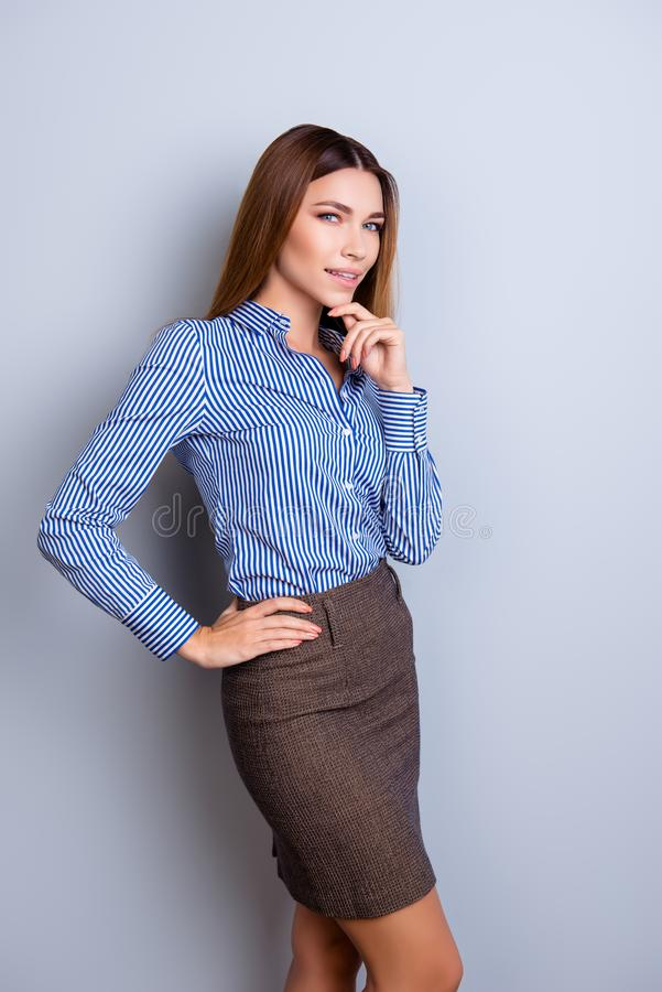 Success and beauty concept. Portrait of playful young business l royalty free stock photography