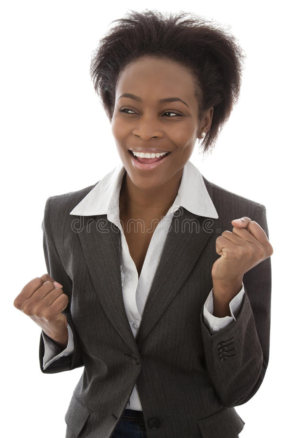 Success: Black businesswoman satisfied isolated on white background. Happy day stock image