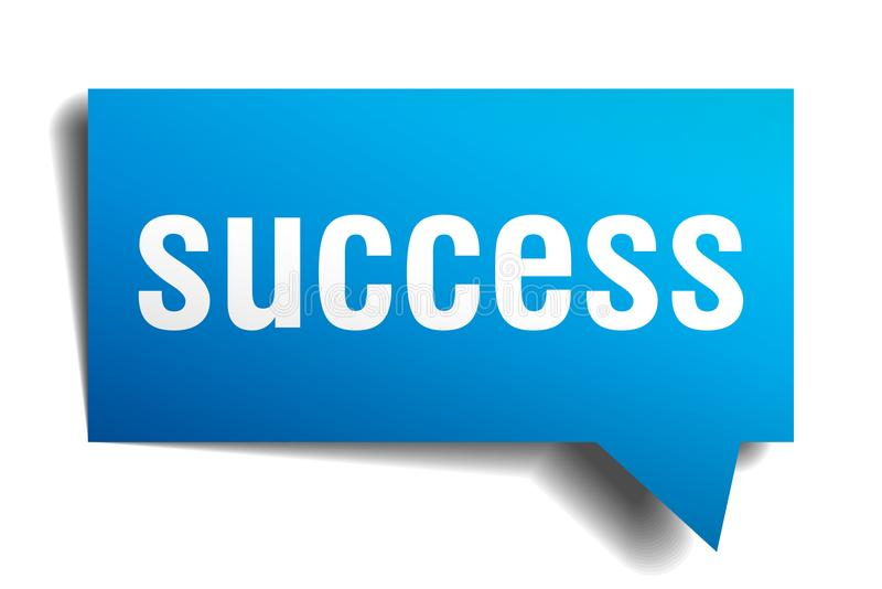 Success blue 3d speech bubble stock illustration