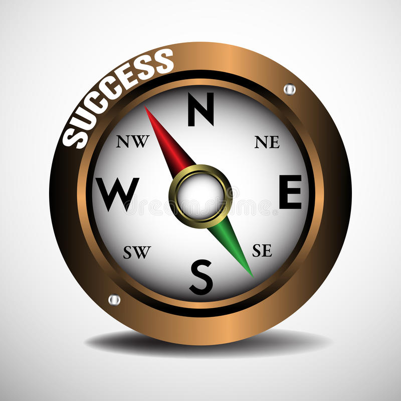 Success. Brown compass on a blank background with the red pointer pointing towards success. Success concept stock illustration