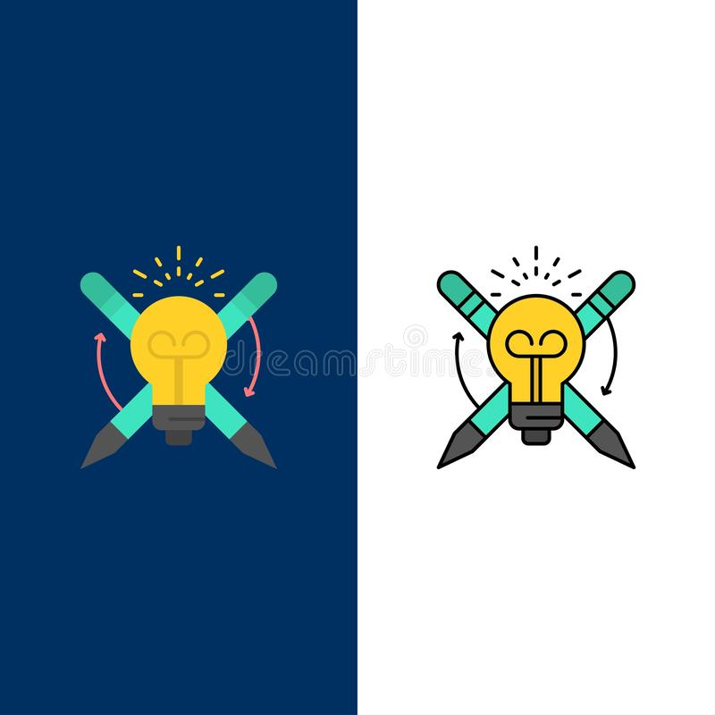 Success, Bulb, Light, Focus,   Icons. Flat and Line Filled Icon Set Vector Blue Background royalty free illustration