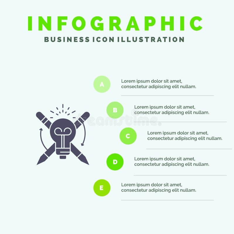 Success, Bulb, Light, Focus,  Solid Icon Infographics 5 Steps Presentation Background vector illustration