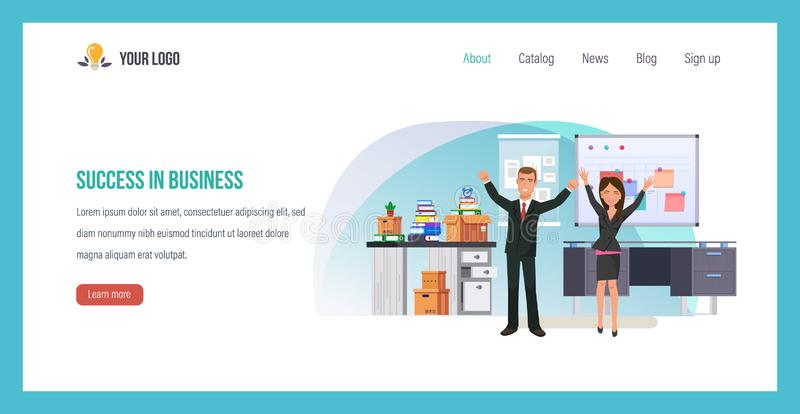 Success in business. Career ladder, success leader with team. royalty free illustration