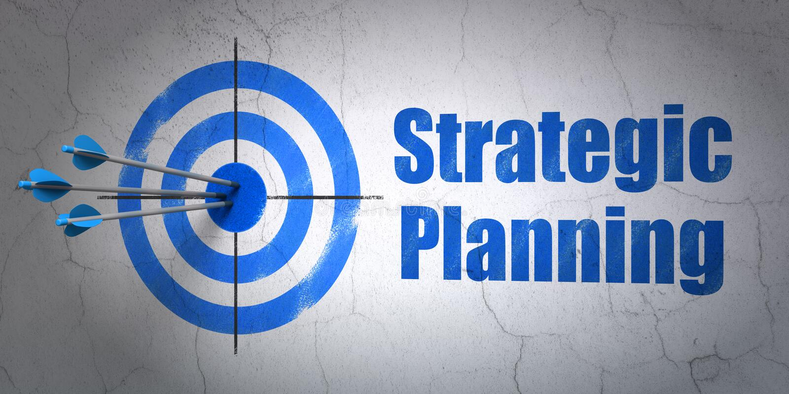 Business concept: target and Strategic Planning on wall background. Success business concept: arrows hitting the center of target, Blue Strategic Planning on royalty free stock photography