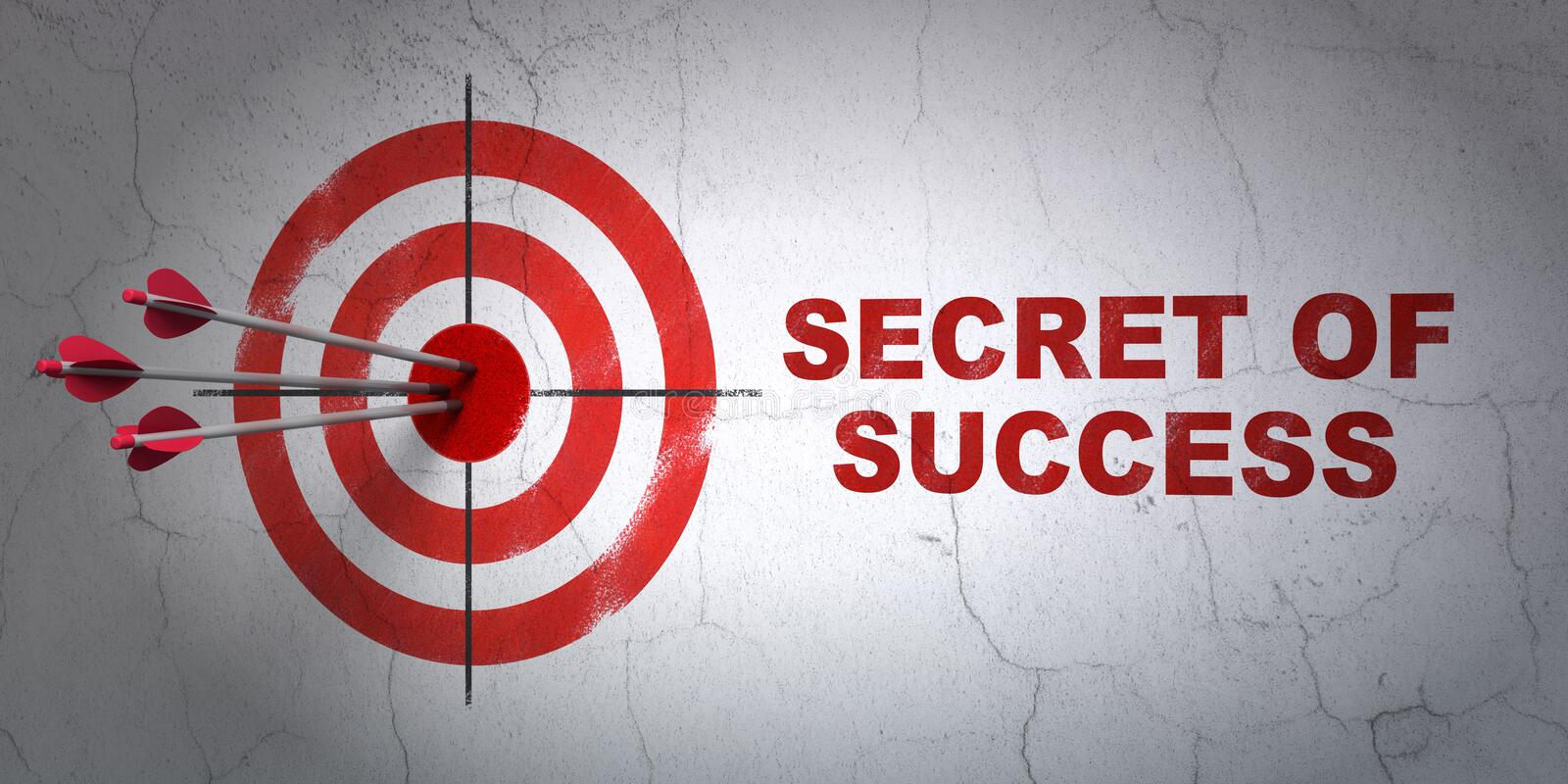Business concept: target and Secret of Success on wall background vector illustration