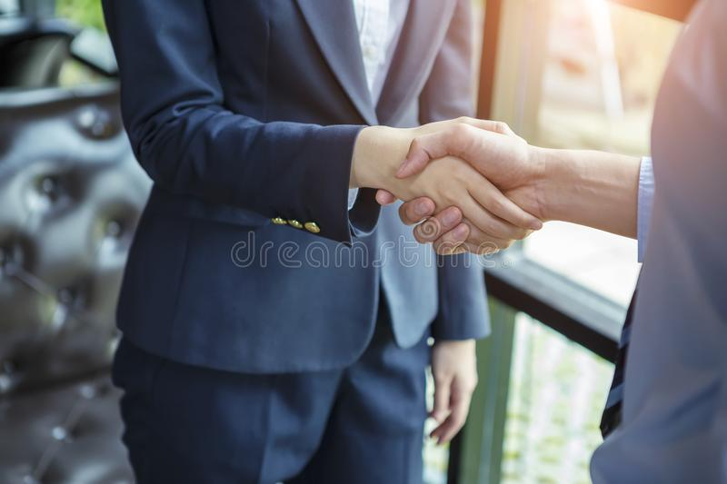 Success business concept. Business people hands hacking after finished deal. Picture for add text message. Backdrop for design ar royalty free stock photo