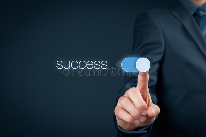 Success in business. Concept. Businessman (mentor, coach) switch over success stock images