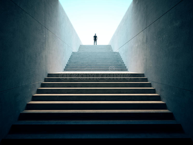 Success business concept. People climbed on top of the stairs royalty free illustration
