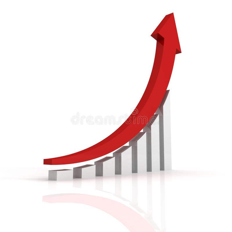 Success business growth bar graph with arrow royalty free illustration
