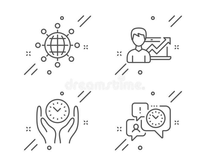 Success business, International globe and Safe time icons set. Time management sign. Vector. Success business, International globe and Safe time line icons set stock illustration