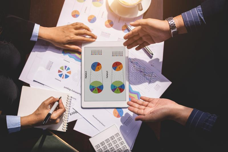 Success business and partnership business concept, Hand of Businessman and businesswoman presenting their business project stock photo