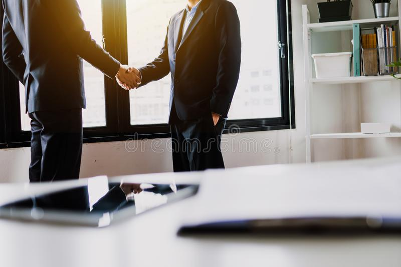 Success business, successful negotiation and partner cooperation concept, Businessman shake hands with teamwork people. Closeup, client, manager, sign stock photo