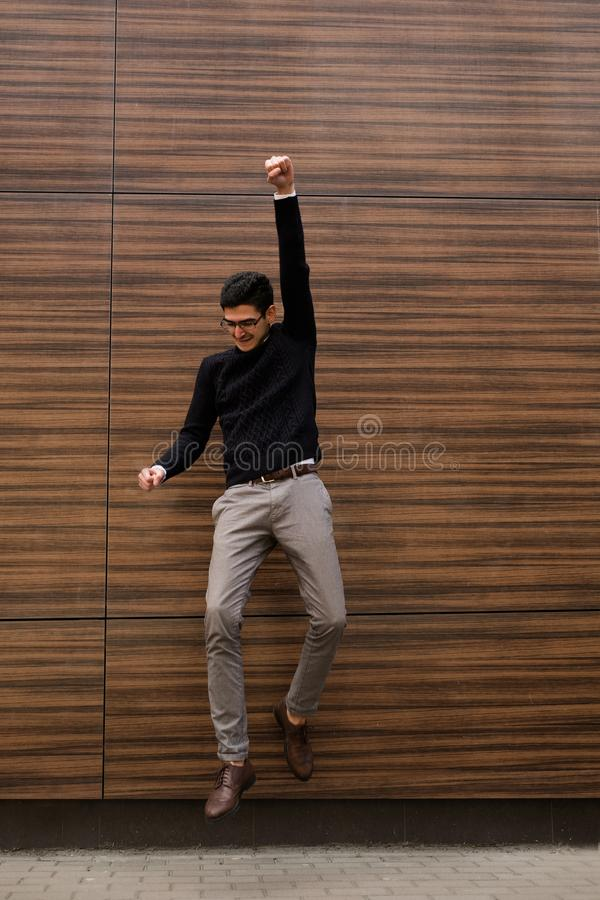 Success business triumph yes achievement champion. Success triumph yes gesture first champion. joy of professional achievement. happy business man celebrating royalty free stock images