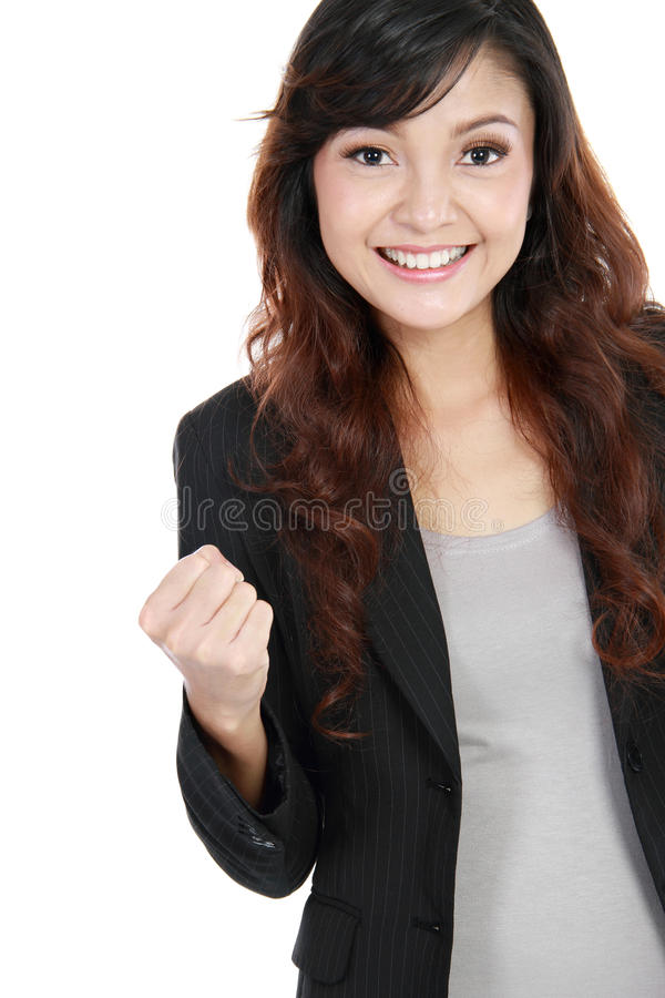 Success business woman celebrating stock photos