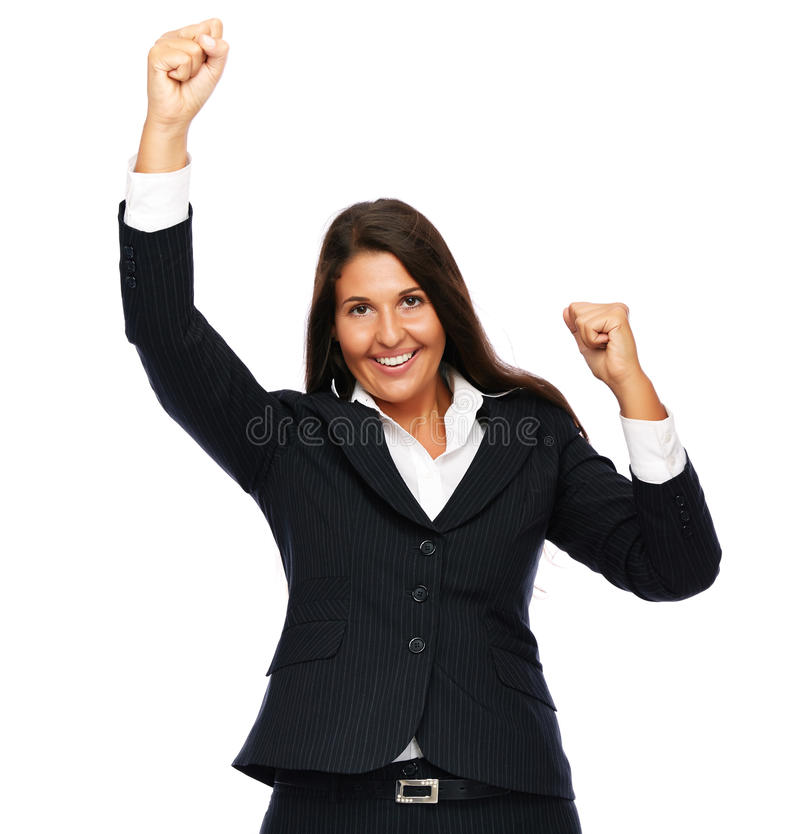 Success business woman. Business woman celebrating winning success. Isolated on a white background royalty free stock photos