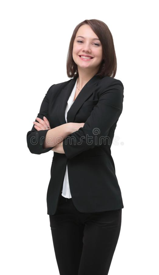 Portrait in full growth. successful woman Manager. Success in business. young smiling female Manager royalty free stock photos
