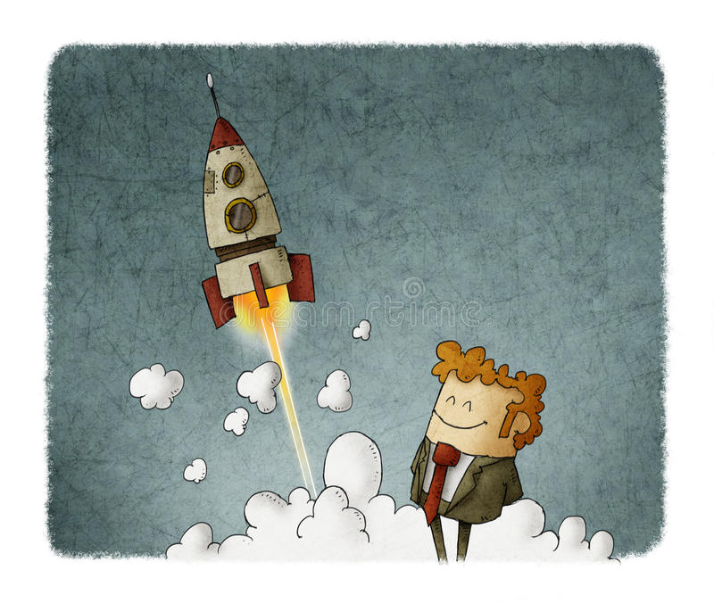 Success businessman with rocket launching vector illustration
