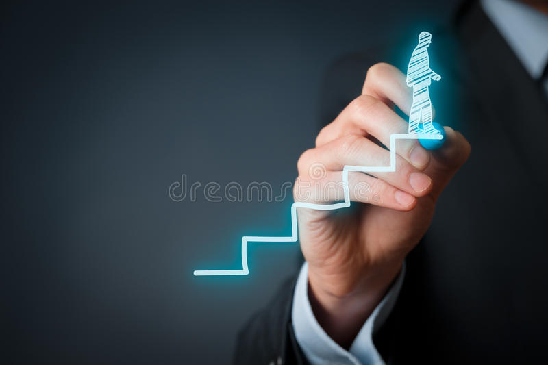 Success in career. Personal development, personal and career finished growth, success, progress, motivation and potential concepts. Coach (human resources stock photo