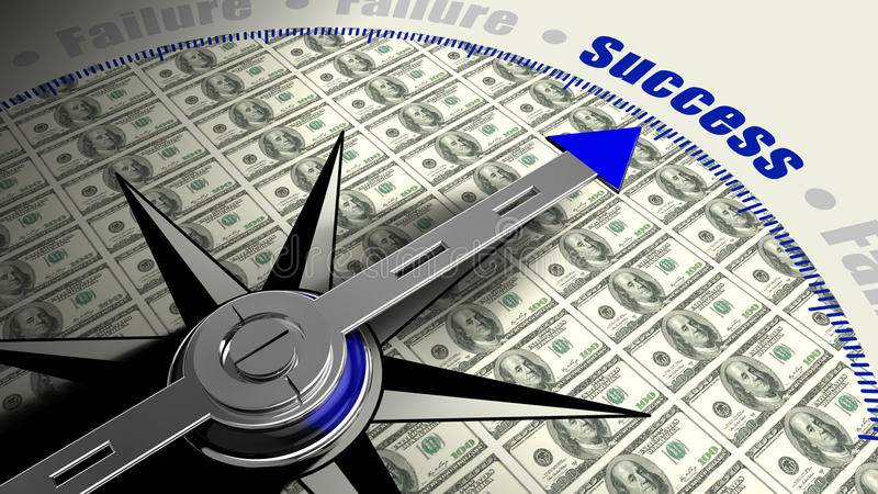 Success compass with dollar texture vector illustration