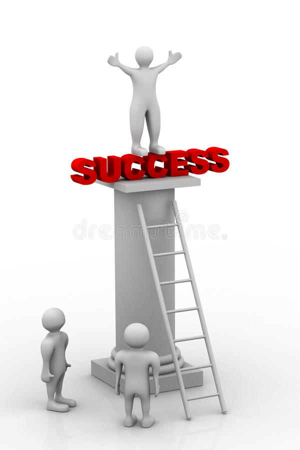 Success concept. 3d illustration of Success concept in white background stock illustration